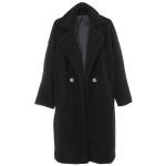 AO6141 Solid Teddy Bear Long Coat, Black
