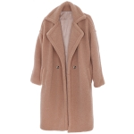 AO6141 Solid Teddy Bear Long Coat, Tan