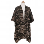 AO6195 Camouflage Pattern Knitted Cape, Khaki