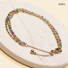CB-2504 Solid Beads and Tiny Dots layered Bracelet, GMU