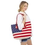 CB0829 American Flag Print Large Tote Bag