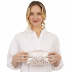 CB1403 Gold Leopard Pattern Cosmetic Bag, White