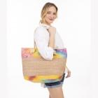 CB1404 Multi Colorful Straw Large Tote Bag