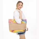 CB1404 Multi Colorful Straw Large Tote Bag