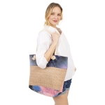 CB1405 Water-brushed Tie-dye Pattern Straw Large Tote Bag