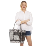 CB1412 Leopard Edge W/Mesh Transparent Beach Bag, Black