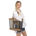 CB1412 Leopard Edge W/Mesh Transparent Beach Bag,  Brown