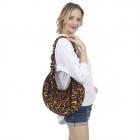 CB1432 Leopard Pattern Canvas Sling Bag, Brown