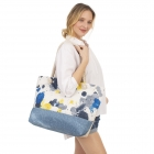 CB1433 Ink Dripping Pattern Beach Tote Bag, Blue