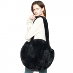 CB8249 Solid Faux Fur Round Tote Bag, Black