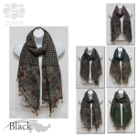 CC1010 Floral/Houndstooth Print Scarf