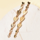 CE-2002 Graduated Heart Linked Stud Earring, Gold