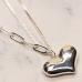 CN-2329 Medium Heart Pendant w/Chain & Thin Necklace, Gold
