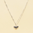 CN-2329 Medium Heart Pendant w/Chain & Thin Necklace, Silver