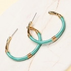 CE-2203 Embroidery Thread Wrapped Hoop Earring, GTQ