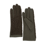 CG0359 Solid Short Curly Faux Fur Gloves, Olive