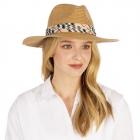 CH1302 Basic Plaid Trim Boho Straw Hat,  Natural