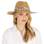 CH1302 Basic Plaid Trim Boho Straw Hat,  Natural
