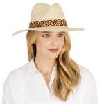 CH1303 Leopard Trim Straw Panama Hat, Beige