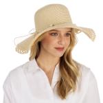 CH1304 Pearl & Straw String Floppy Straw Hat, Beige