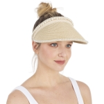 CH1331 Solid & Pearl Edge Straw Hat, Beige