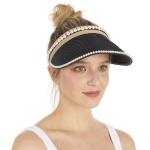 CH1331 Solid & Pearl Edge Straw Hat, Black