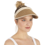CH1331 Solid & Pearl Edge Straw Hat, Natural