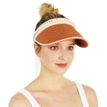 CH1331 Solid & Pearl Edge Straw Hat, Rust