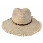 CH1337  Leopard Pattern Trim Panama Hat, Beige