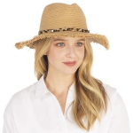 CH1337 Leopard Pattern Trim Panama Hat, Natural