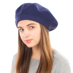 CH8202 Stretchy Knitted Beret, Navy