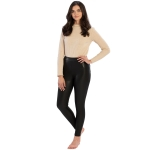 CL9801(CL9802) Faux leather Lined Leggings w/Pockets