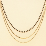 CN-2344 Solid Beads & Small Chain Multi Layered Necklace, GBK