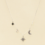 CN-2607 Shining Star & Crescent Moon Charm Necklace, Silver