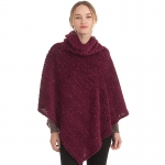 CP0542 Sparkle Solid Color Turtleneck Poncho, Burgundy