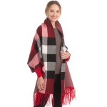 CP0550 Basic Plaid Pattern Sleeve Shrug, Red