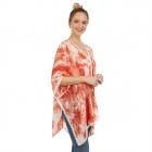 CP1203 Watercolor Tie-dye Summer Poncho, Coral