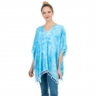 CP1204 Solid Color Tie-dye Pattern Poncho, Blue