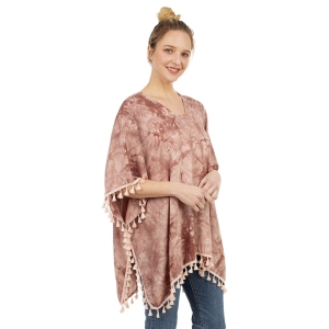 CP1204 Solid Color Tie-dye Pattern Poncho, Brown