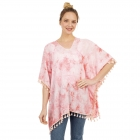 CP1204 Solid Color Tie-dye Pattern Poncho, Coral