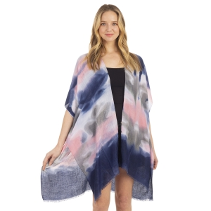 CP1206 Water Brushed Tie-dye Pattern Poncho, Blue