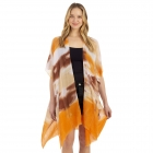 CP1206 Water Brushed Tie-dye Pattern Poncho, Orange