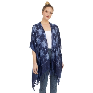 CP1207 Flower & Waterbrushed Checkerboard Pattern Poncho