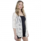 CP1208 Floral Crochet Pattern Cardigan, Ivory