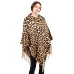 CP1601 Leopard Pattern Tassels Winter Poncho