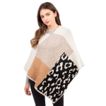 CP1609 Solid Color & Leopard Pattern Soft Texture Poncho, Beige