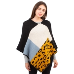 CP1609 Solid Color & Leopard Pattern Soft Texture Poncho, Black