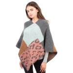 CP1609 Solid Color & Leopard Pattern Soft Texture Poncho, Grey