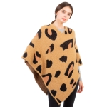 CP1610 Leopard Pattern Soft Texture Poncho, Brown
