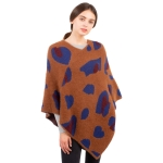 CP1610 Leopard Pattern Soft Texture Poncho, Camel